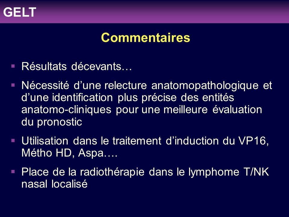 clinicaloptions.com/oncology Individualizing Therapy to Optimize Patient Outcomes in MDS Commentaires Résultats décevants… Nécessité dune relecture an