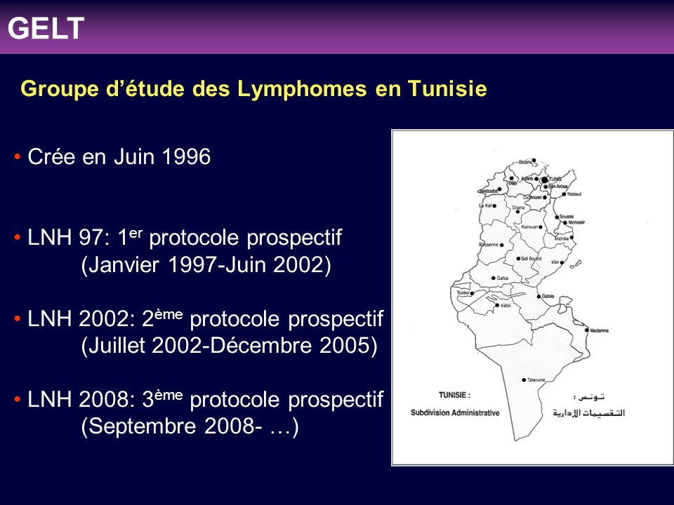 clinicaloptions.com/oncology Individualizing Therapy to Optimize Patient Outcomes in MDS Groupe détude des Lymphomes en Tunisie Crée en Juin 1996 LNH