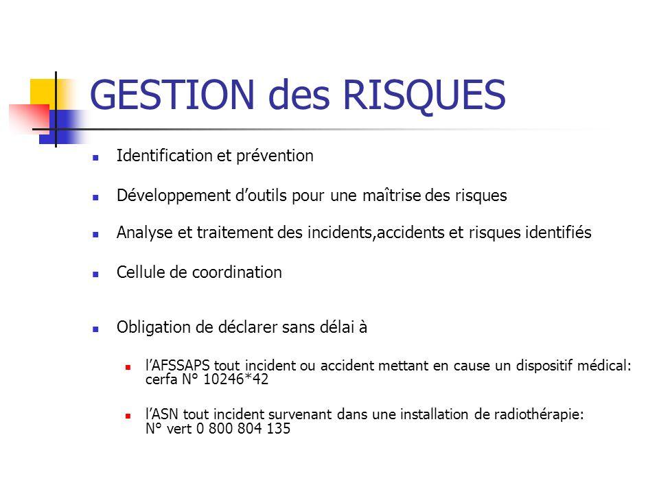 GESTION des RISQUES Identification et prévention Développement doutils pour une maîtrise des risques Analyse et traitement des incidents,accidents et