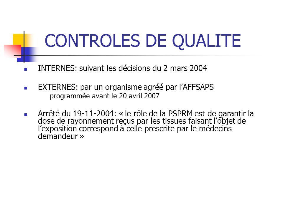 CONTROLES DE QUALITE INTERNES: suivant les décisions du 2 mars 2004 EXTERNES: par un organisme agréé par lAFFSAPS programmée avant le 20 avril 2007 Ar
