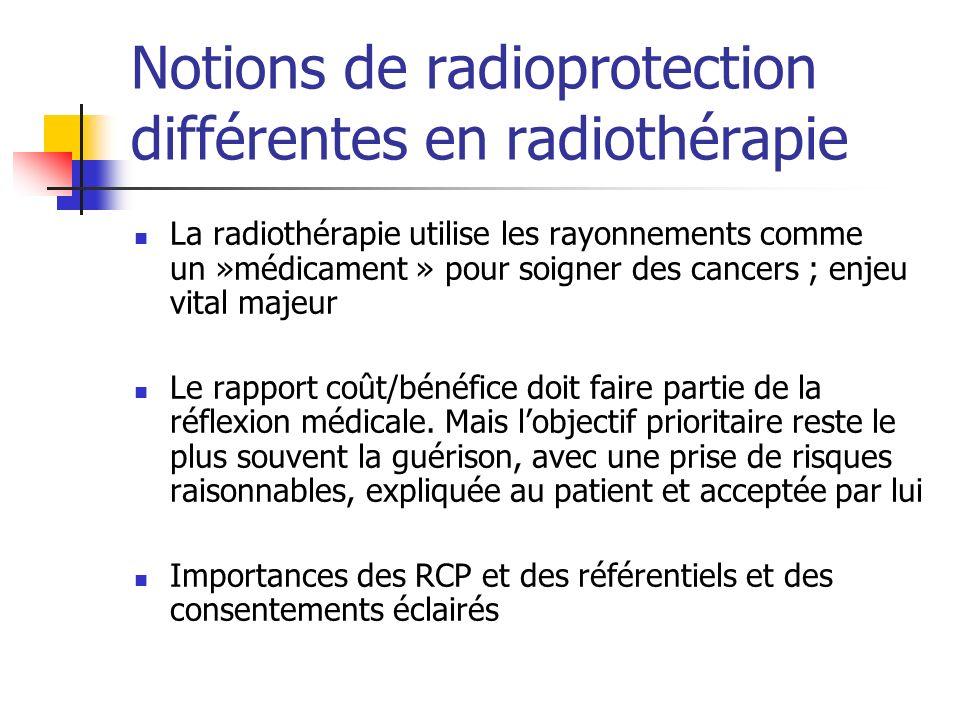 Notions de radioprotection différentes en radiothérapie La radiothérapie utilise les rayonnements comme un »médicament » pour soigner des cancers ; en