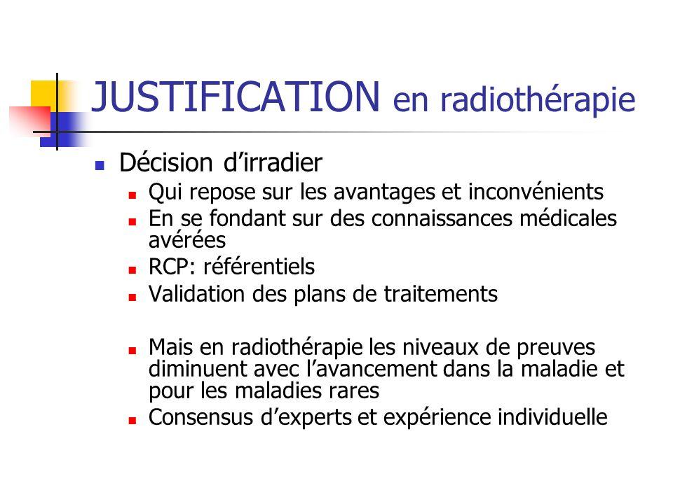 JUSTIFICATION en radiothérapie Décision dirradier Qui repose sur les avantages et inconvénients En se fondant sur des connaissances médicales avérées