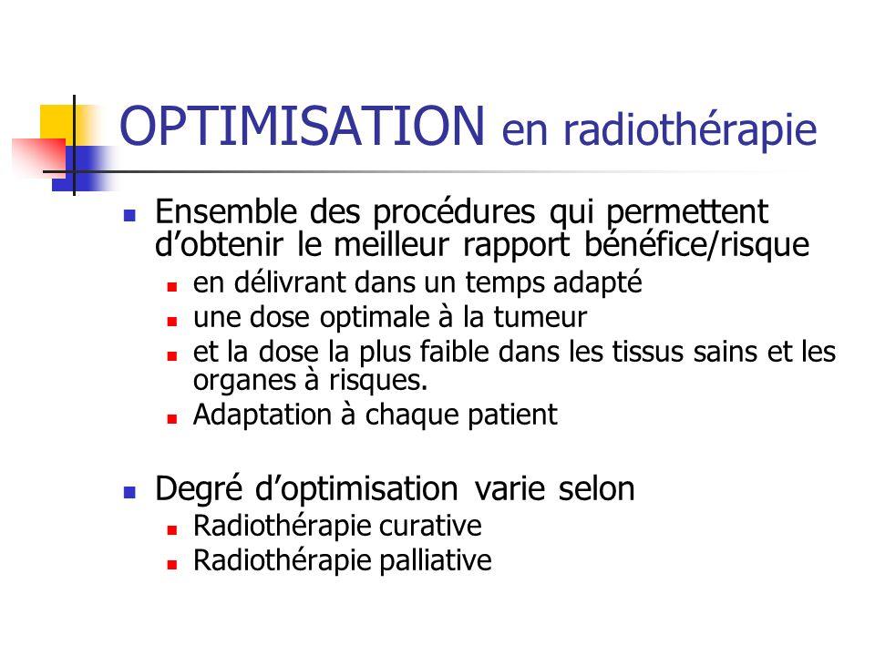 OPTIMISATION en radiothérapie Ensemble des procédures qui permettent dobtenir le meilleur rapport bénéfice/risque en délivrant dans un temps adapté un