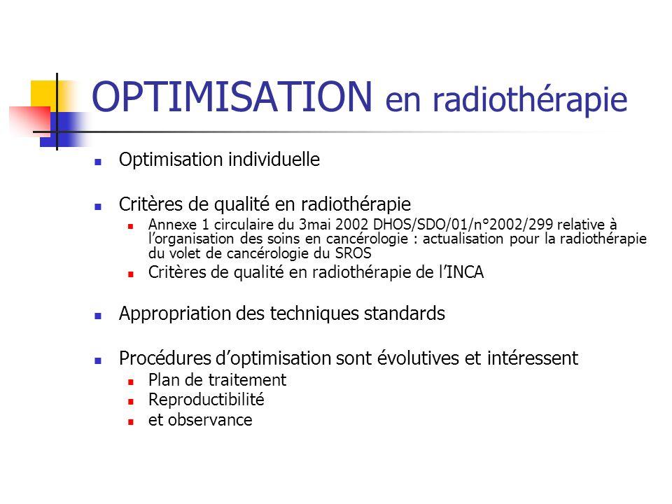 OPTIMISATION en radiothérapie Optimisation individuelle Critères de qualité en radiothérapie Annexe 1 circulaire du 3mai 2002 DHOS/SDO/01/n°2002/299 r