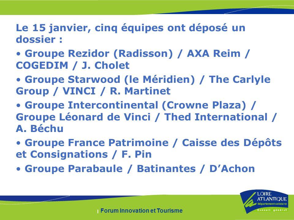 | Forum Innovation et Tourisme Le 15 janvier, cinq équipes ont déposé un dossier : Groupe Rezidor (Radisson) / AXA Reim / COGEDIM / J.