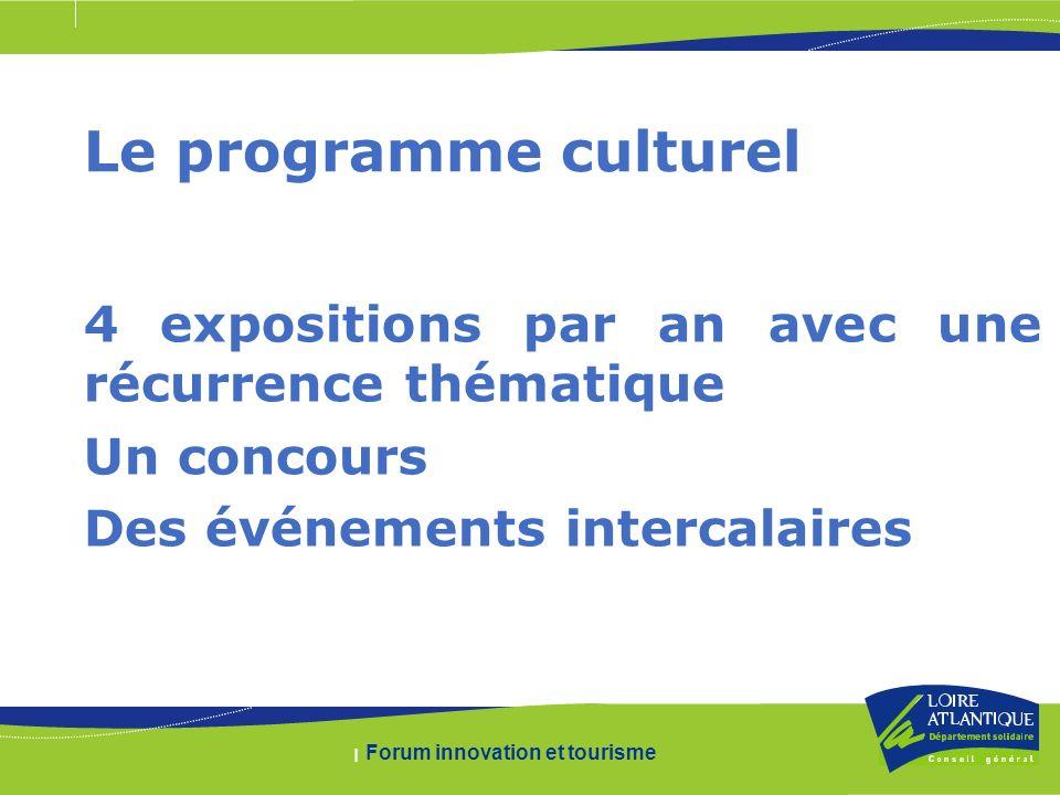 | Forum innovation et tourisme Le programme culturel 4 expositions par an avec une récurrence thématique Un concours Des événements intercalaires