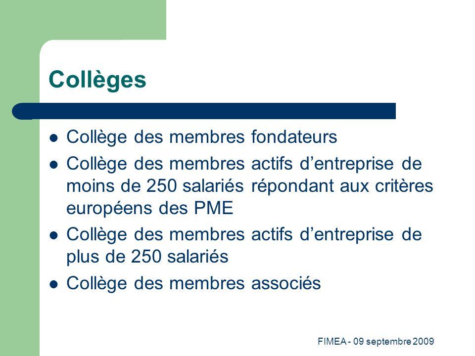 FIMEA - 09 septembre 2009 Collèges Collège des membres fondateurs Collège des membres actifs dentreprise de moins de 250 salariés répondant aux critèr
