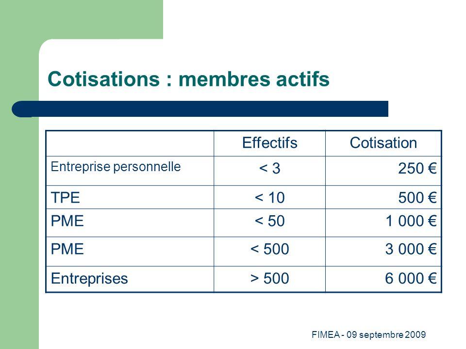 FIMEA - 09 septembre 2009 Cotisations : membres actifs EffectifsCotisation Entreprise personnelle < 3250 TPE< 10500 PME< 501 000 PME< 5003 000 Entrepr