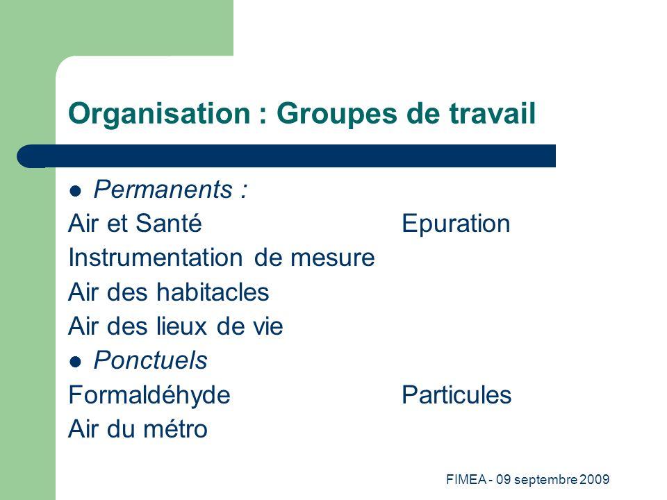 FIMEA - 09 septembre 2009 Organisation : Groupes de travail Permanents : Air et SantéEpuration Instrumentation de mesure Air des habitacles Air des li