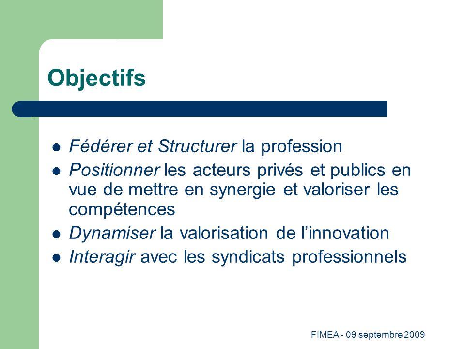 FIMEA - 09 septembre 2009 Objectifs Fédérer et Structurer la profession Positionner les acteurs privés et publics en vue de mettre en synergie et valo
