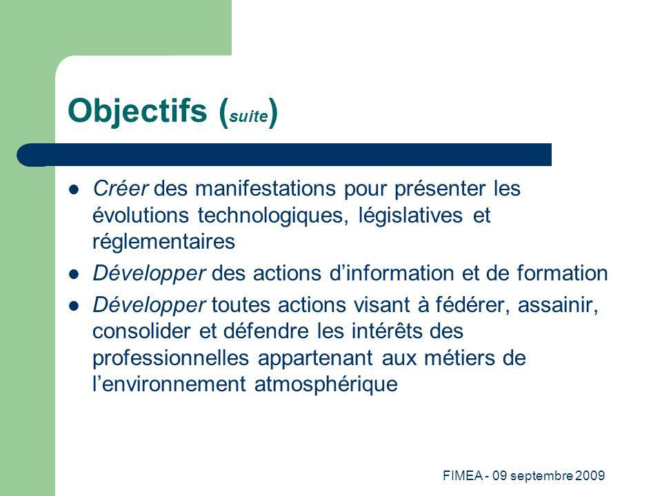 FIMEA - 09 septembre 2009 Objectifs ( suite ) Créer des manifestations pour présenter les évolutions technologiques, législatives et réglementaires Dé
