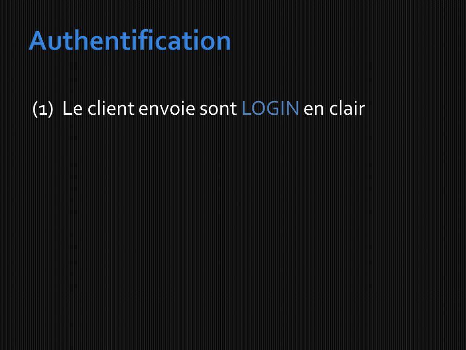 (1) Le client envoie sont LOGIN en clair