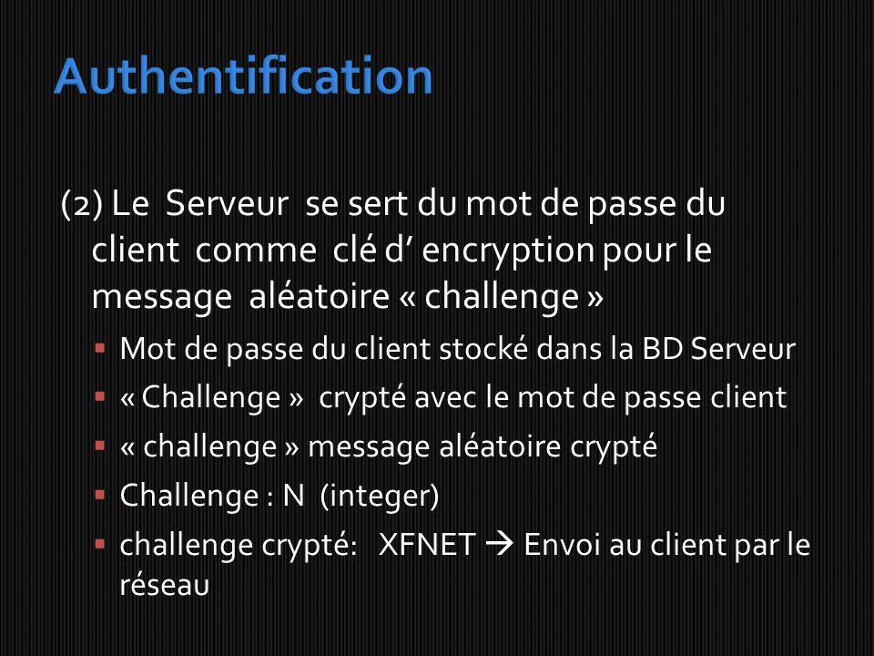 (2) Le Serveur se sert du mot de passe du client comme clé d encryption pour le message aléatoire « challenge » Mot de passe du client stocké dans la