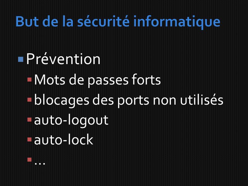 Prévention Mots de passes forts blocages des ports non utilisés auto-logout auto-lock...