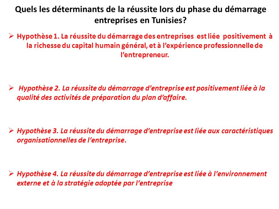 Quels les déterminants de la réussite lors du phase du démarrage entreprises en Tunisies? Hypothèse 1. La réussite du démarrage des entreprises est li