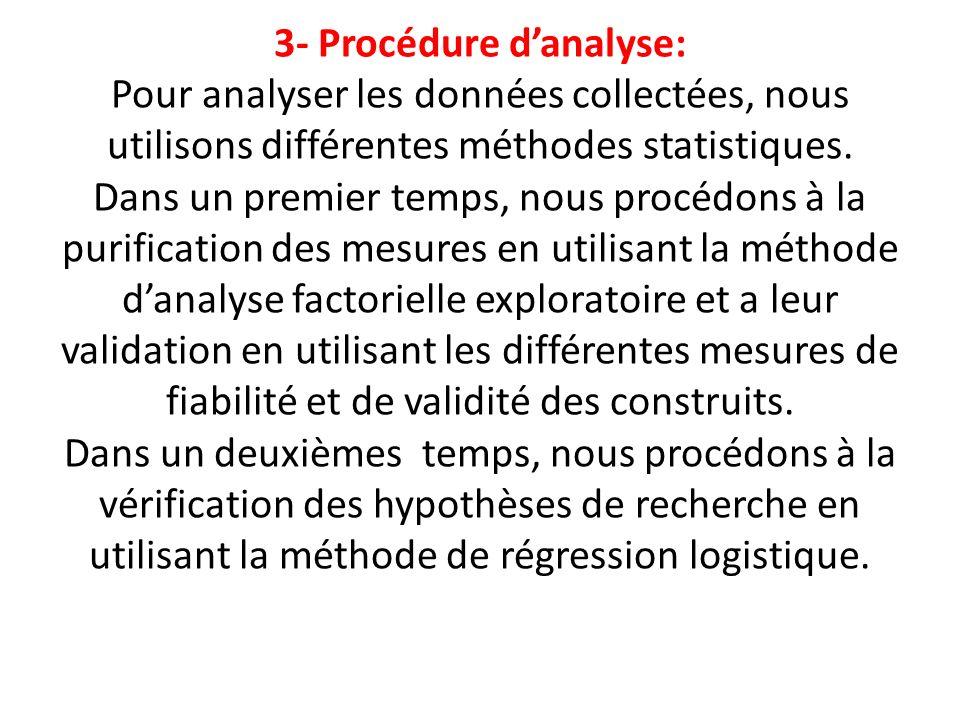 3- Procédure danalyse: Pour analyser les données collectées, nous utilisons différentes méthodes statistiques. Dans un premier temps, nous procédons à
