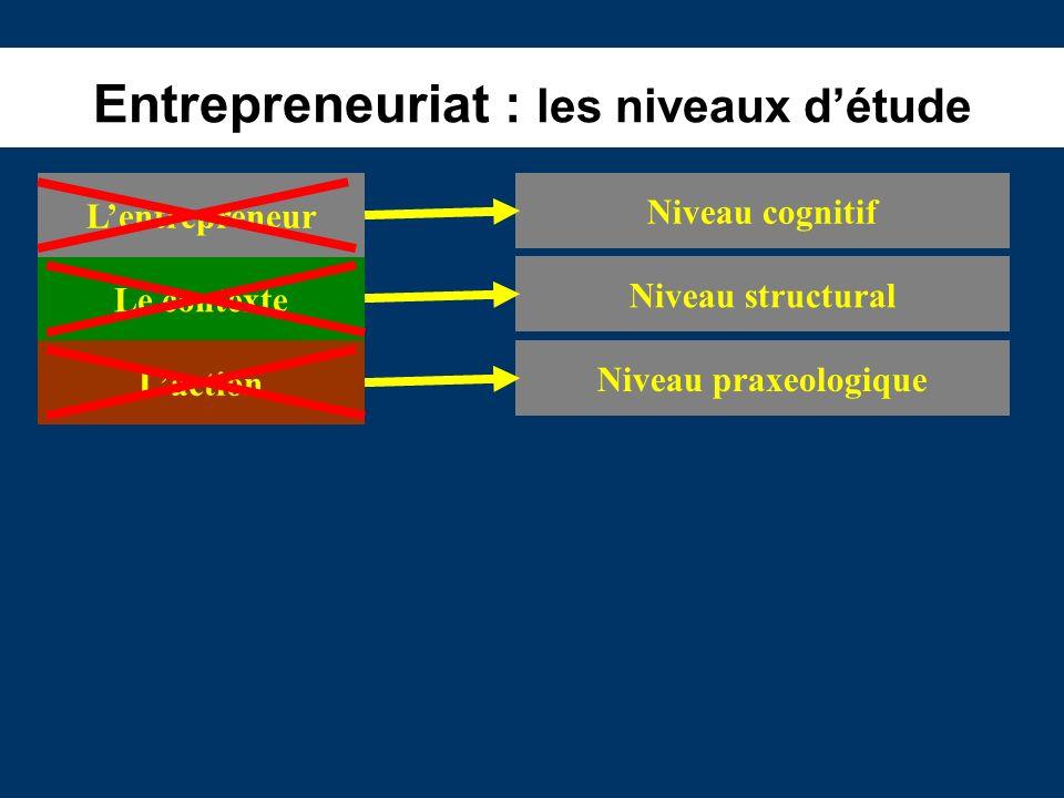 Entrepreneuriat : les niveaux détude Le contexte Laction Lentrepreneur Niveau cognitif Niveau structural Niveau praxeologique