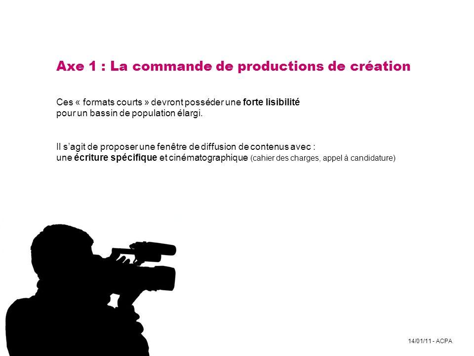 14/01/11 - ACPA Axe 1 : La commande de productions de création Ces « formats courts » devront posséder une forte lisibilité pour un bassin de populati