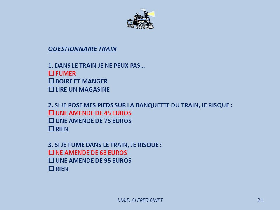 I.M.E.ALFRED BINET21 QUESTIONNAIRE TRAIN 1.