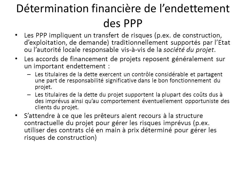 Détermination financière de lendettement des PPP Les PPP impliquent un transfert de risques (p.ex. de construction, dexploitation, de demande) traditi