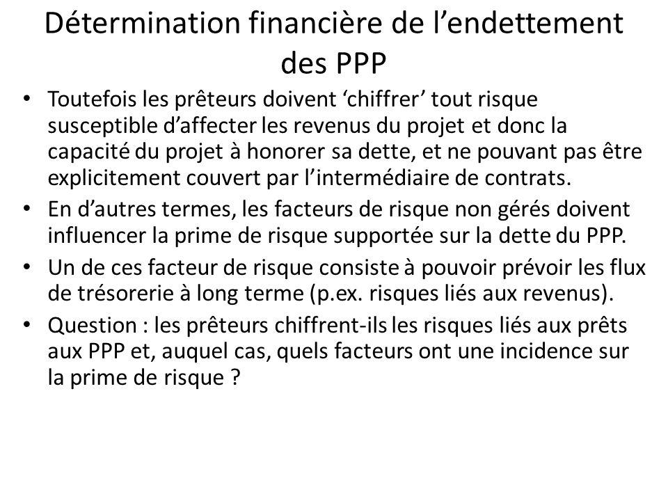 Détermination financière de lendettement des PPP Toutefois les prêteurs doivent chiffrer tout risque susceptible daffecter les revenus du projet et do