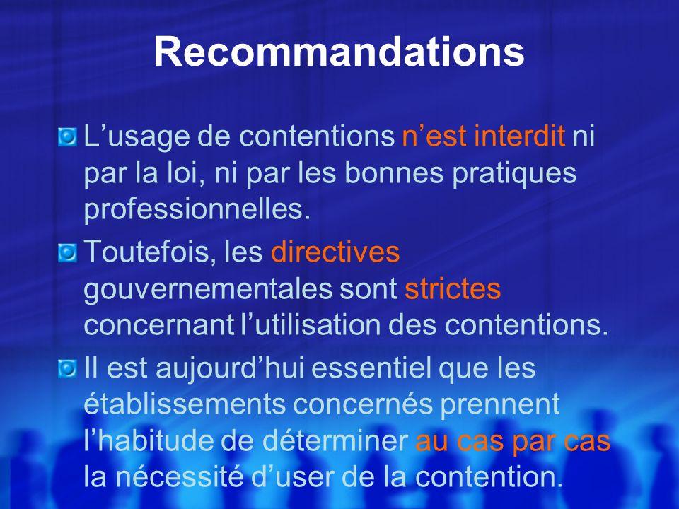Recommandations Lusage de contentions nest interdit ni par la loi, ni par les bonnes pratiques professionnelles. Toutefois, les directives gouvernemen