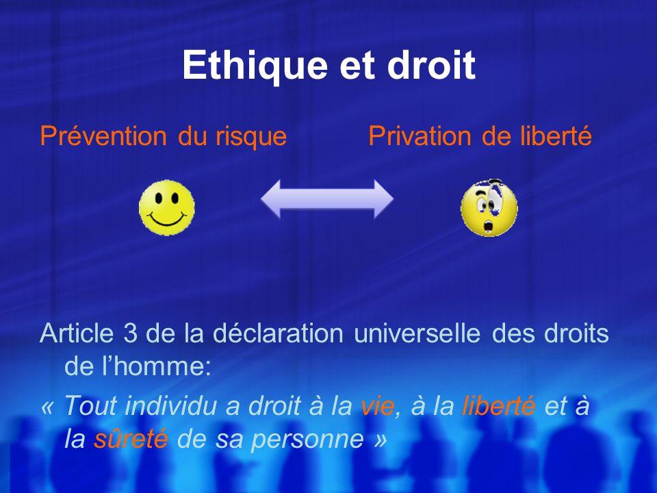 Ethique et droit Prévention du risquePrivation de liberté Article 3 de la déclaration universelle des droits de lhomme: « Tout individu a droit à la v