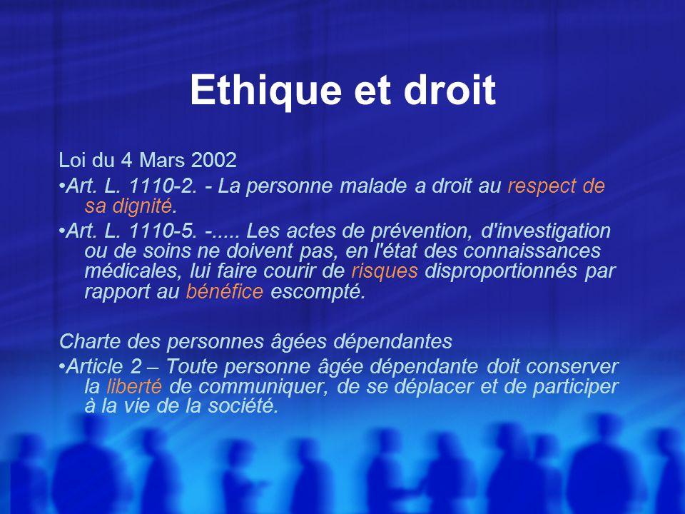Ethique et droit Loi du 4 Mars 2002 Art. L. 1110-2. - La personne malade a droit au respect de sa dignité. Art. L. 1110-5. -..... Les actes de prévent