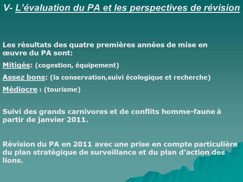 V- Lévaluation du PA et les perspectives de révision Les résultats des quatre premières années de mise en œuvre du PA sont: Mitigés: (cogestion, équip