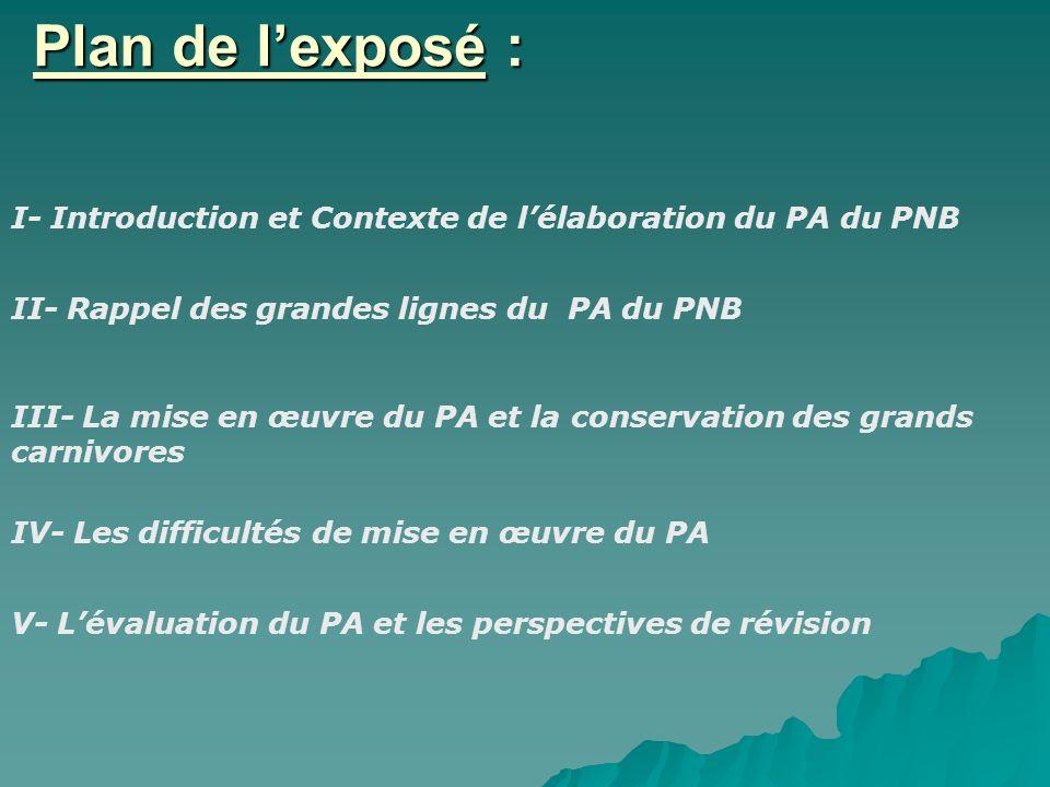Plan de lexposé : I- Introduction et Contexte de lélaboration du PA du PNB II- Rappel des grandes lignes du PA du PNB III- La mise en œuvre du PA et l