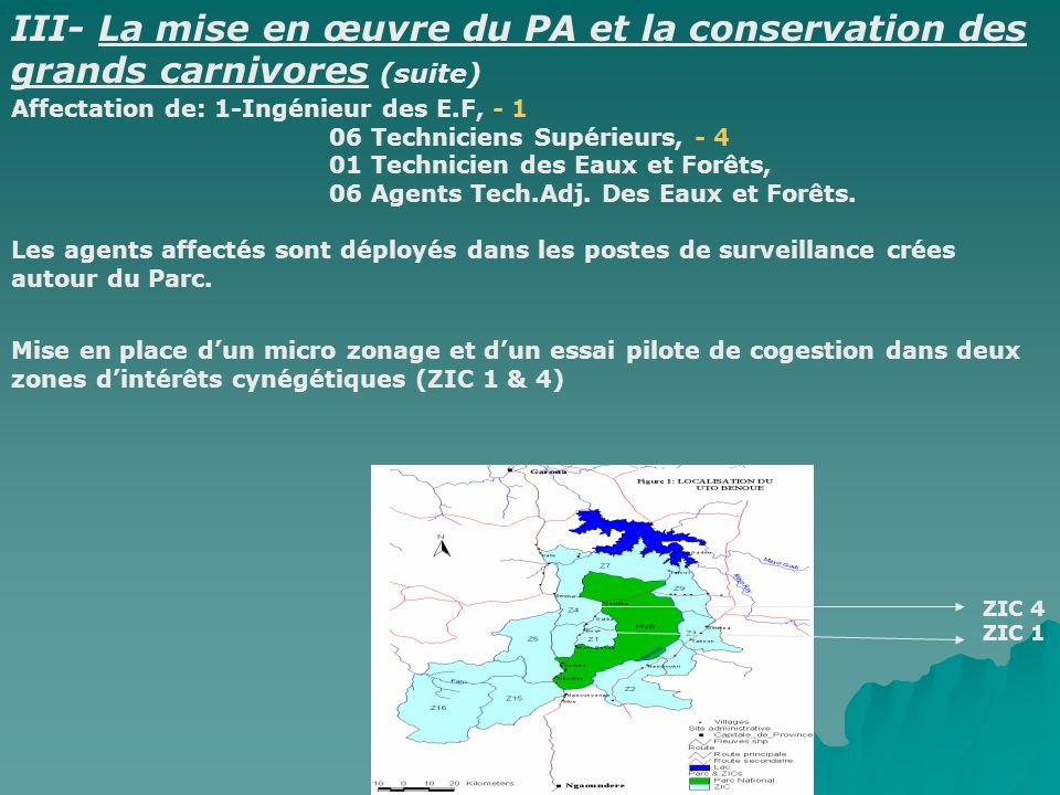 Affectation de: 1-Ingénieur des E.F, - 1 06 Techniciens Supérieurs, - 4 01 Technicien des Eaux et Forêts, 06 Agents Tech.Adj. Des Eaux et Forêts. Les