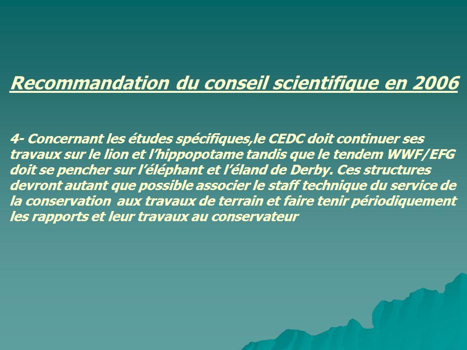 Recommandation du conseil scientifique en 2006 4- Concernant les études spécifiques,le CEDC doit continuer ses travaux sur le lion et lhippopotame tan