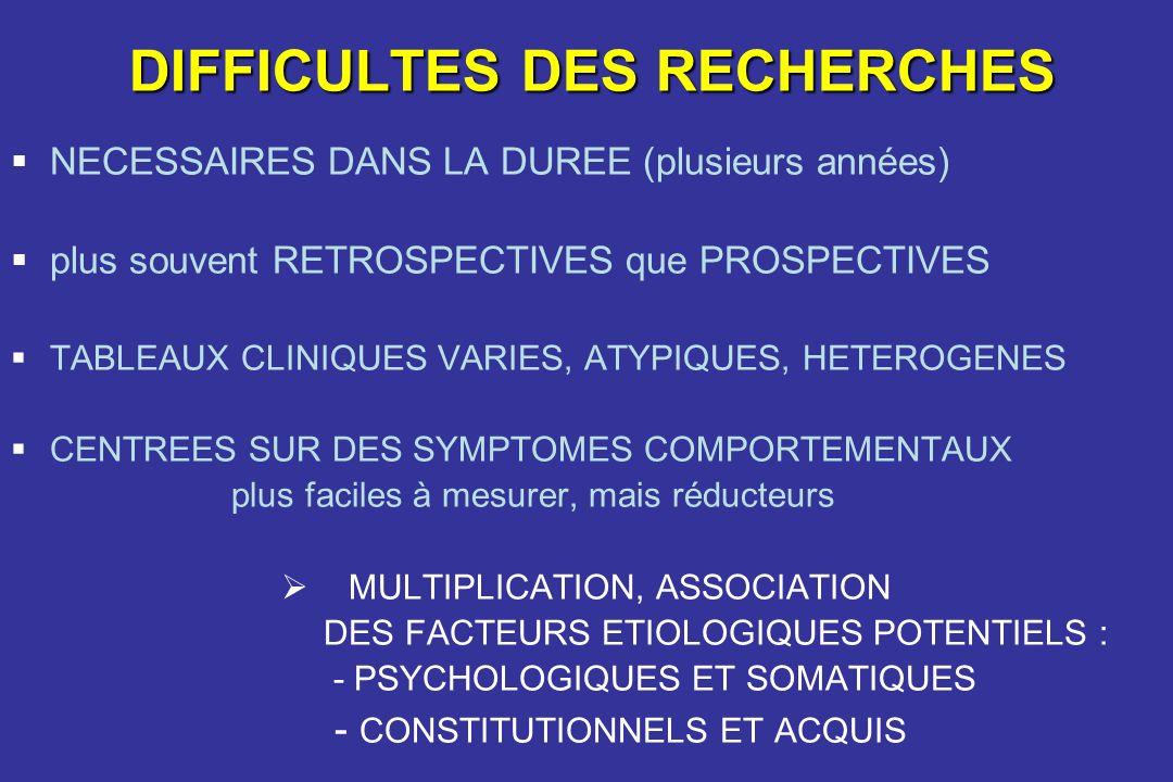 DIFFICULTES DES RECHERCHES NECESSAIRES DANS LA DUREE (plusieurs années) plus souvent RETROSPECTIVES que PROSPECTIVES TABLEAUX CLINIQUES VARIES, ATYPIQ