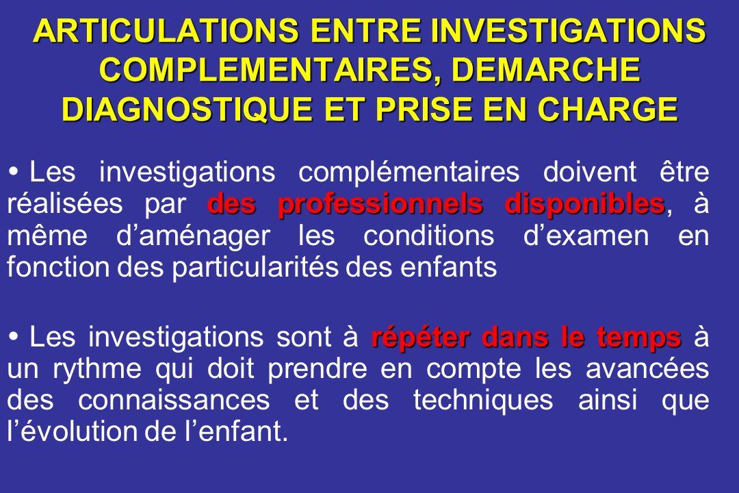 ARTICULATIONS ENTRE INVESTIGATIONS COMPLEMENTAIRES, DEMARCHE DIAGNOSTIQUE ET PRISE EN CHARGE des professionnels disponibles Les investigations complém