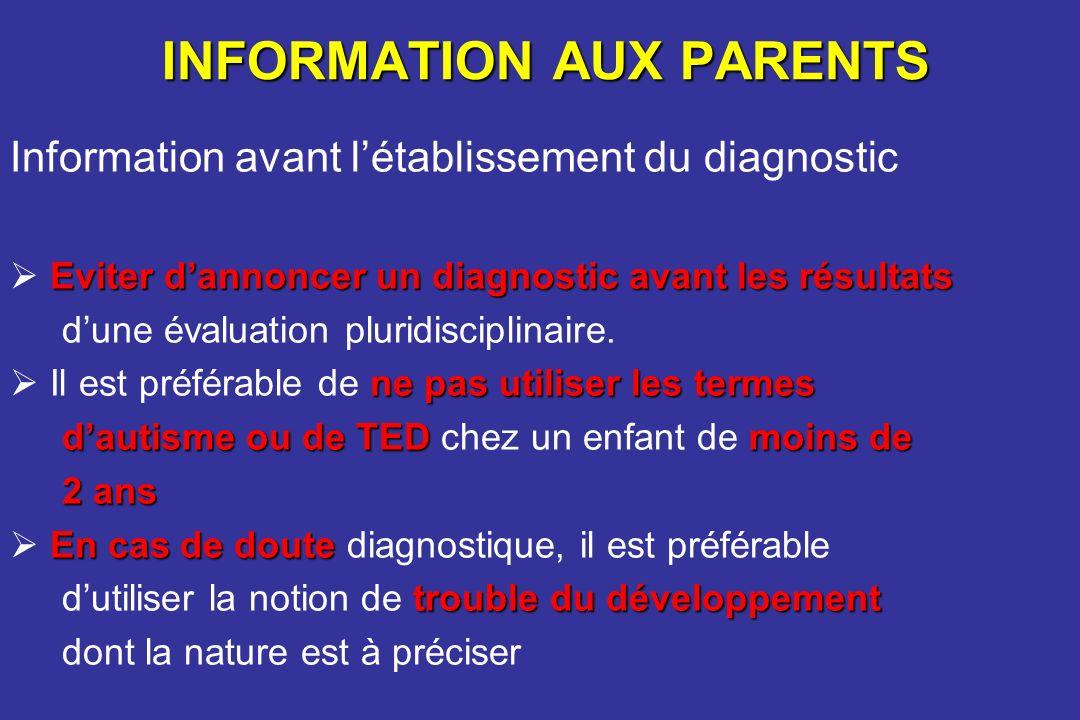 INFORMATION AUX PARENTS Information avant létablissement du diagnostic Eviter dannoncer un diagnostic avant les résultats dune évaluation pluridiscipl