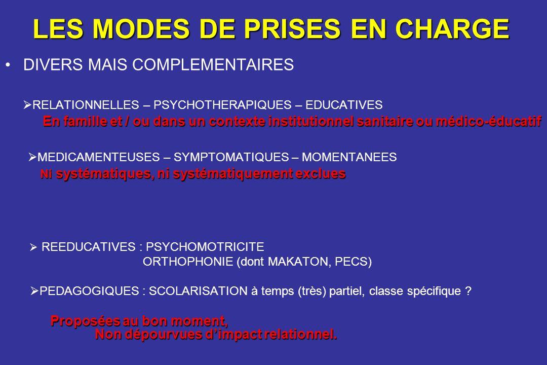 LES MODES DE PRISES EN CHARGE DIVERS MAIS COMPLEMENTAIRES RELATIONNELLES – PSYCHOTHERAPIQUES – EDUCATIVES En famille et / ou dans un contexte institut