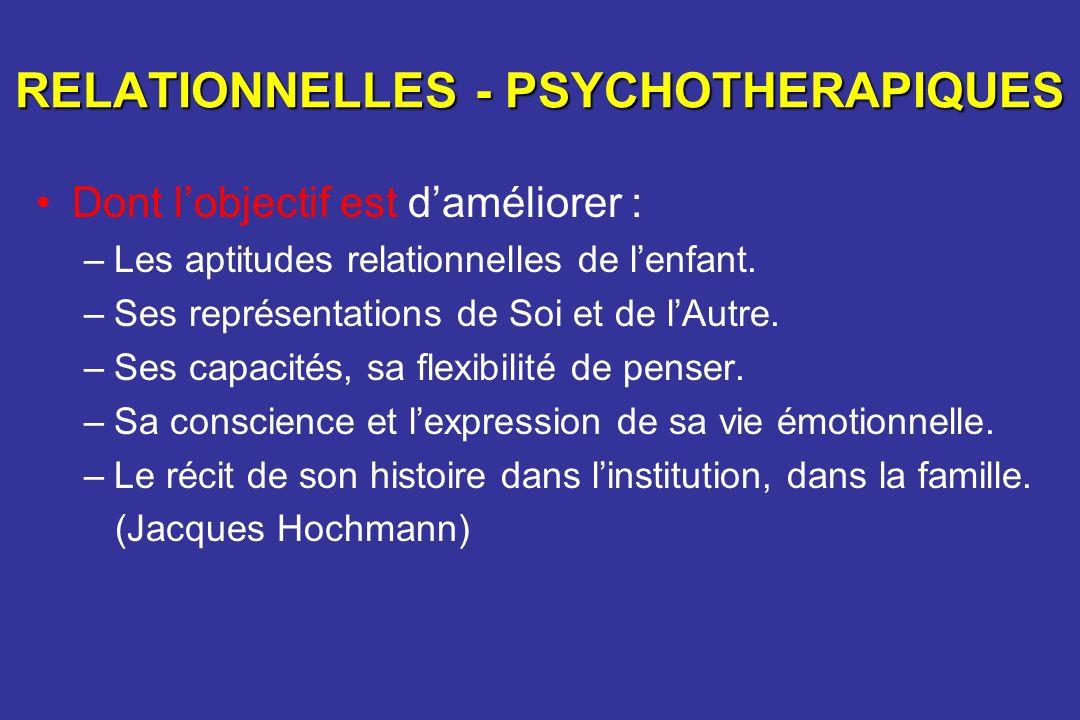 RELATIONNELLES - PSYCHOTHERAPIQUES Dont lobjectif est daméliorer : –Les aptitudes relationnelles de lenfant. –Ses représentations de Soi et de lAutre.