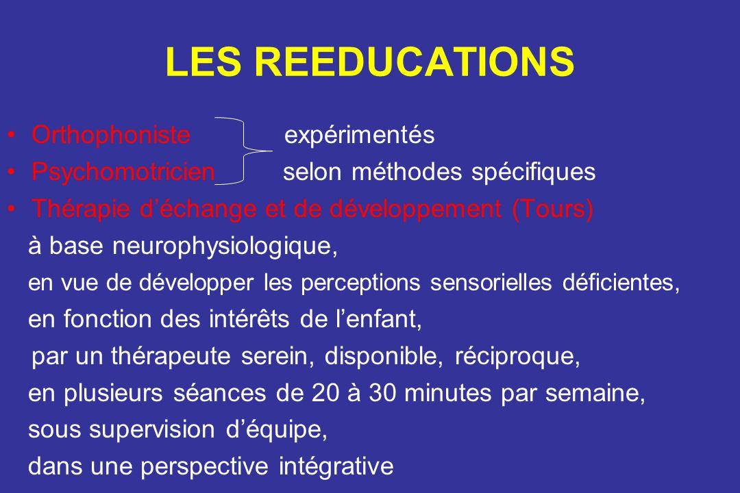 LES REEDUCATIONS Orthophoniste expérimentés Psychomotricien selon méthodes spécifiques Thérapie déchange et de développement (Tours) à base neurophysi
