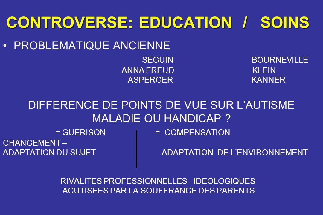 CONTROVERSE: EDUCATION / SOINS PROBLEMATIQUE ANCIENNE SEGUIN BOURNEVILLE ANNA FREUD KLEIN ASPERGER KANNER DIFFERENCE DE POINTS DE VUE SUR LAUTISME MAL