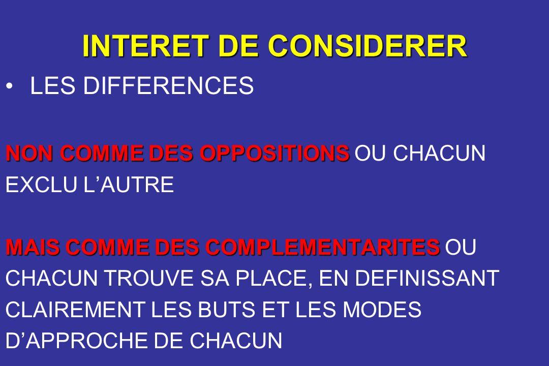 INTERET DE CONSIDERER LES DIFFERENCES NON COMME DES OPPOSITIONS NON COMME DES OPPOSITIONS OU CHACUN EXCLU LAUTRE MAIS COMME DES COMPLEMENTARITES MAIS