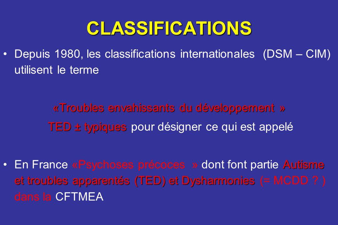 CLASSIFICATIONS Depuis 1980, les classifications internationales (DSM – CIM) utilisent le terme «Troubles envahissants du développement » TED± typique