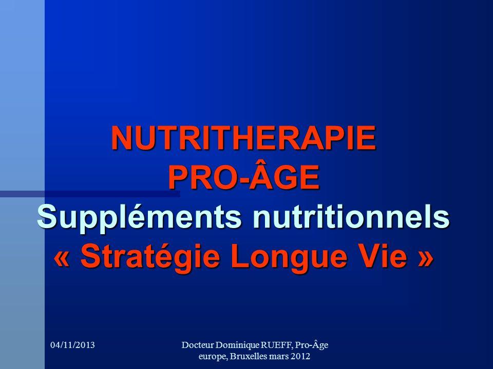 04/11/2013Docteur Dominique RUEFF, Pro-Âge europe, Bruxelles mars 2012 NUTRITHERAPIE PRO-ÂGE Suppléments nutritionnels « Stratégie Longue Vie »