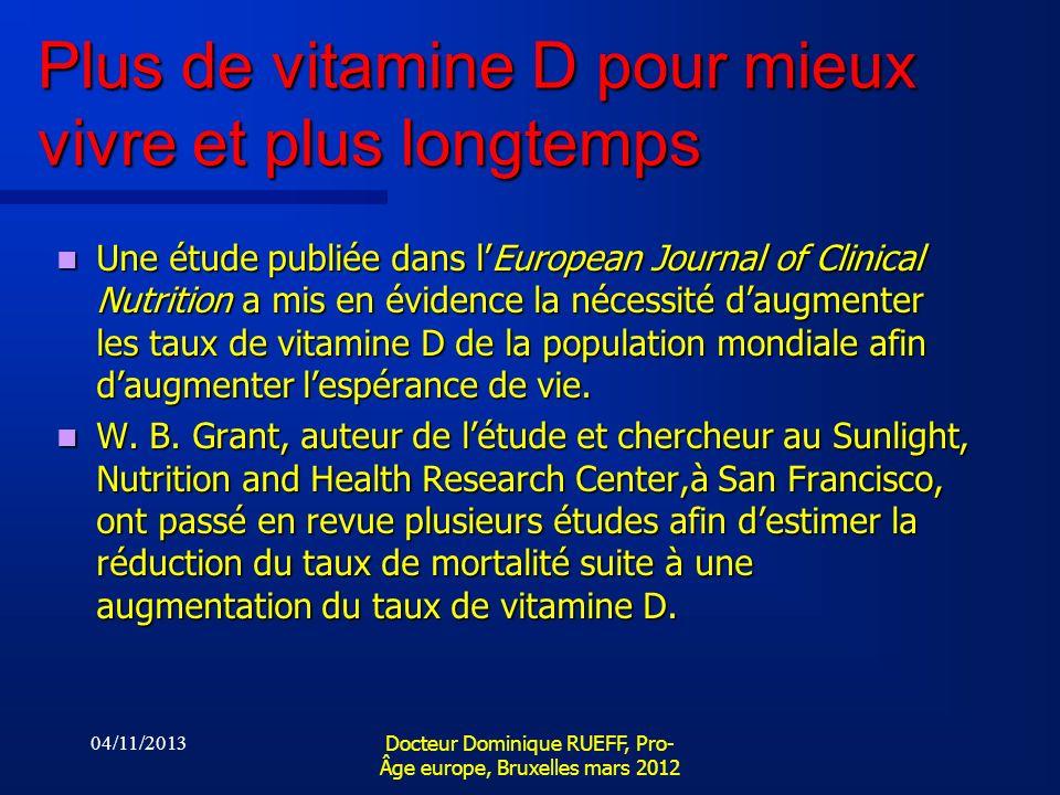 Plus de vitamine D pour mieux vivre et plus longtemps Une étude publiée dans lEuropean Journal of Clinical Nutrition a mis en évidence la nécessité da