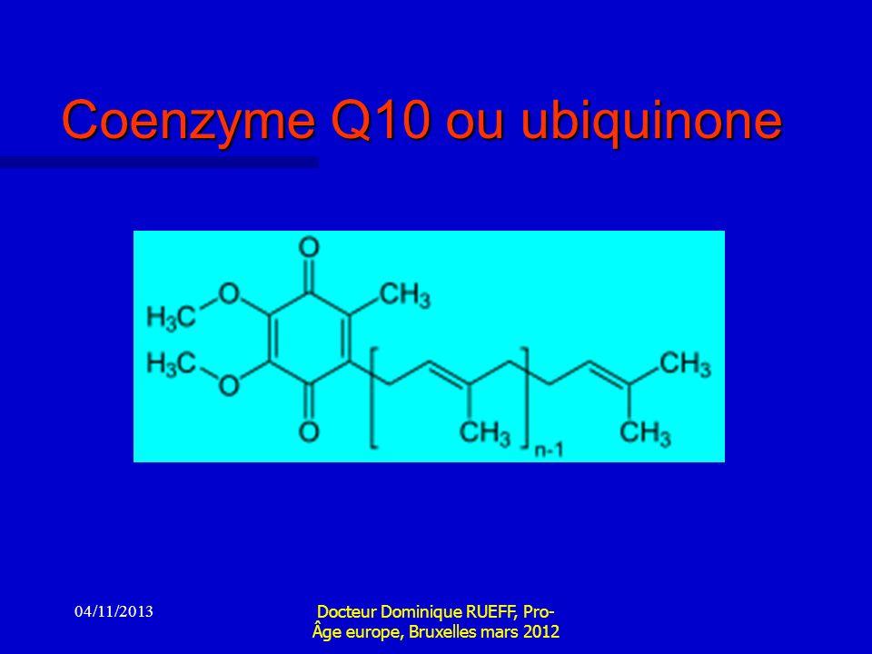 04/11/2013 Docteur Dominique RUEFF, Pro- Âge europe, Bruxelles mars 2012 Coenzyme Q10 ou ubiquinone