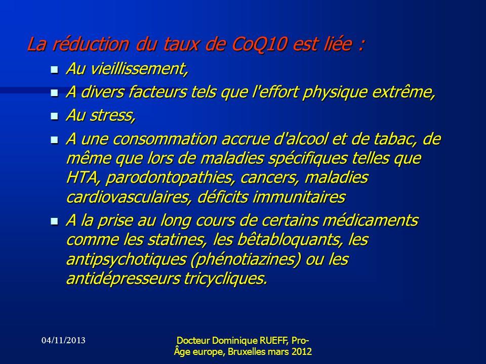 04/11/2013 Docteur Dominique RUEFF, Pro- Âge europe, Bruxelles mars 2012 La réduction du taux de CoQ10 est liée : Au vieillissement, Au vieillissement