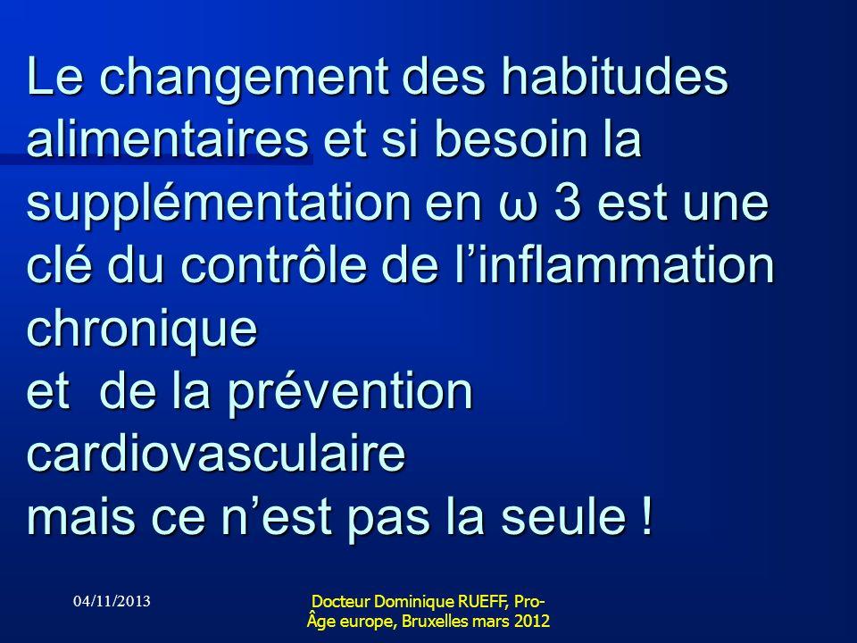 04/11/2013 Docteur Dominique RUEFF, Pro- Âge europe, Bruxelles mars 2012 Le changement des habitudes alimentaires et si besoin la supplémentation en ω