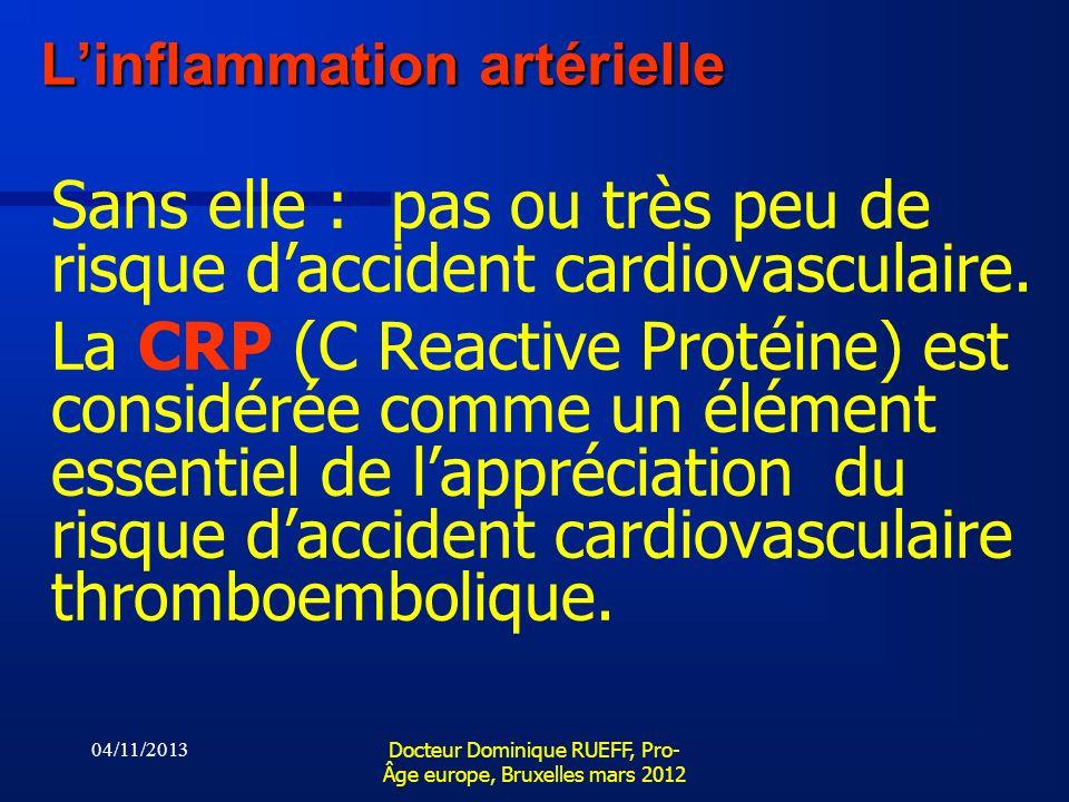04/11/2013 Docteur Dominique RUEFF, Pro- Âge europe, Bruxelles mars 2012 Linflammation artérielle Sans elle : pas ou très peu de risque daccident card