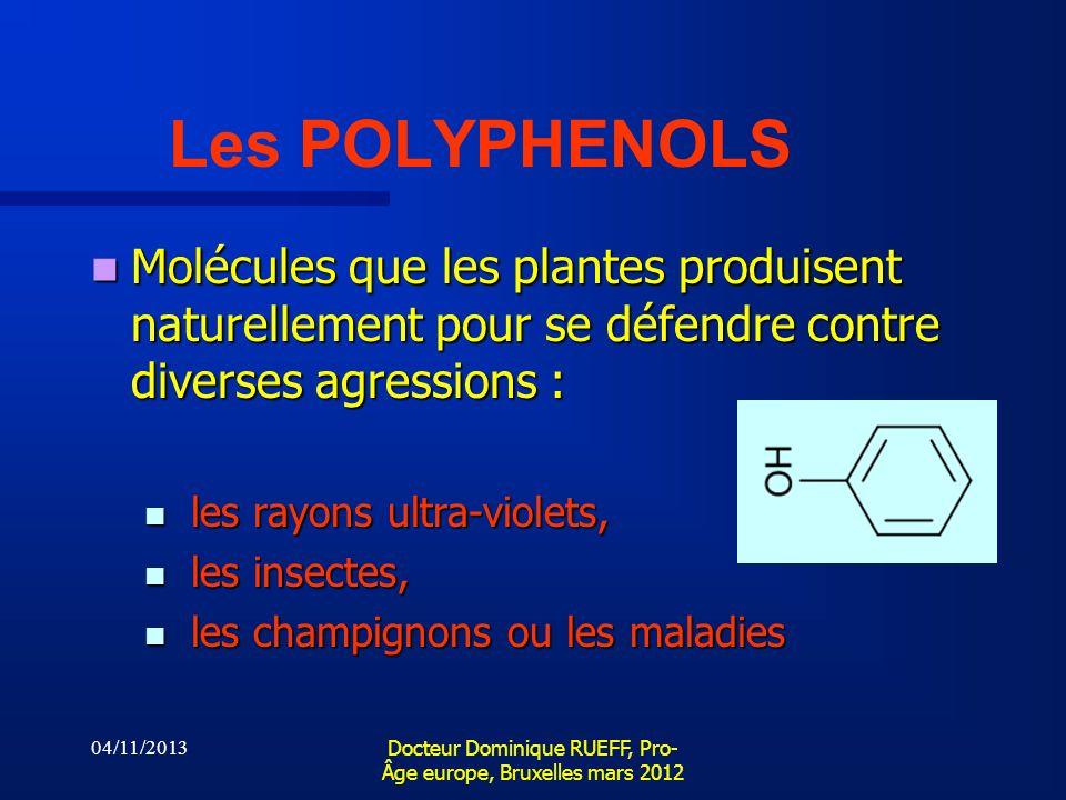 04/11/2013 Docteur Dominique RUEFF, Pro- Âge europe, Bruxelles mars 2012 Les POLYPHENOLS Molécules que les plantes produisent naturellement pour se dé