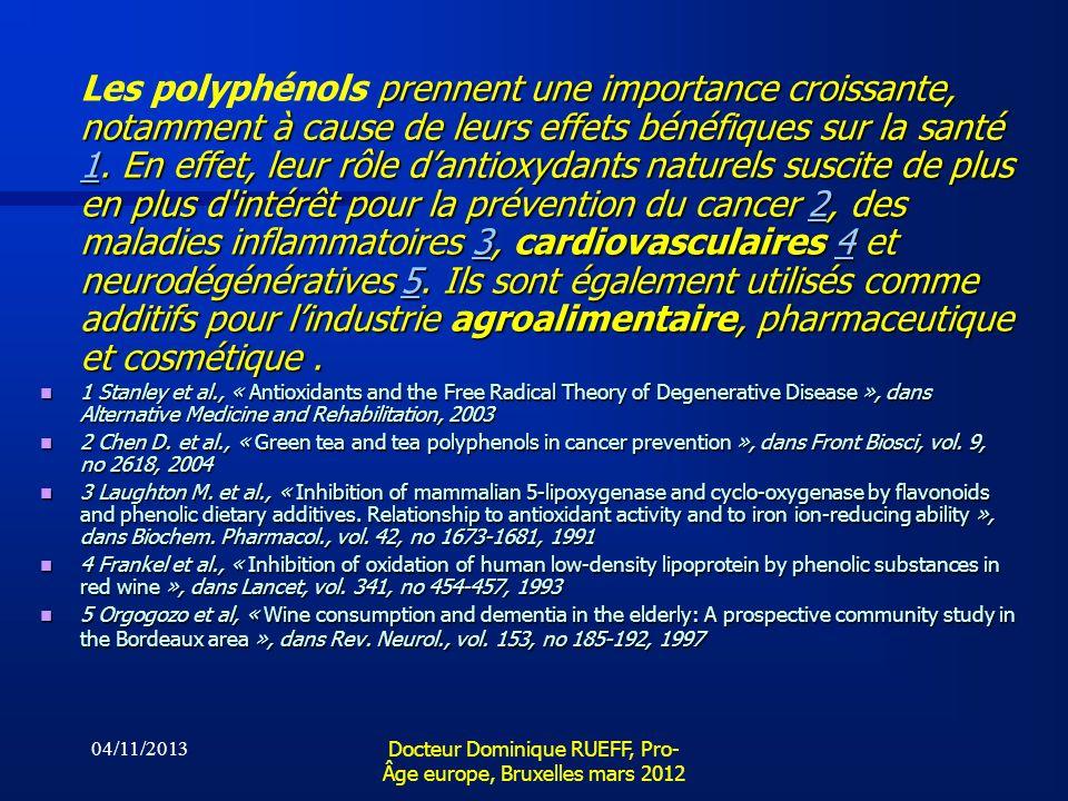 04/11/2013 Docteur Dominique RUEFF, Pro- Âge europe, Bruxelles mars 2012 prennent une importance croissante, notamment à cause de leurs effets bénéfiq