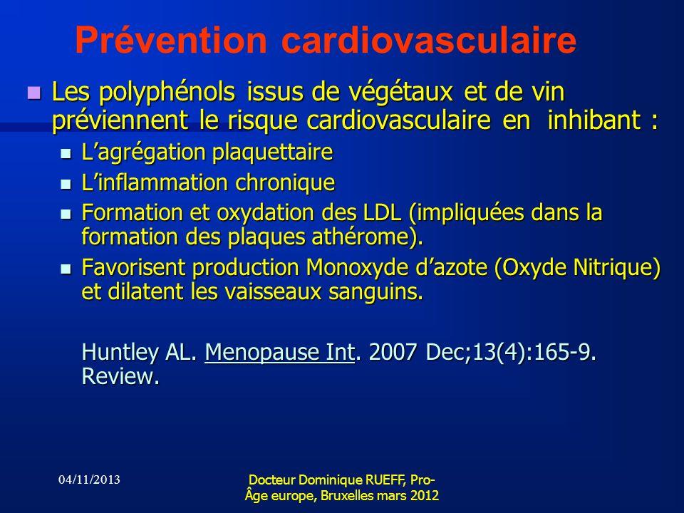 04/11/2013 Docteur Dominique RUEFF, Pro- Âge europe, Bruxelles mars 2012 Prévention cardiovasculaire Les polyphénols issus de végétaux et de vin prévi